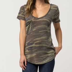 Distressed camo v neck tee
